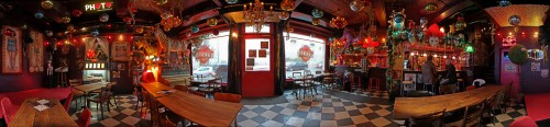 360° Panorama of Valentine's Bar Elvis et Moi, Fribourg ... carnival decoration included ;-))