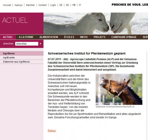 Funny horse picture used on www.agriculture.ch ...
