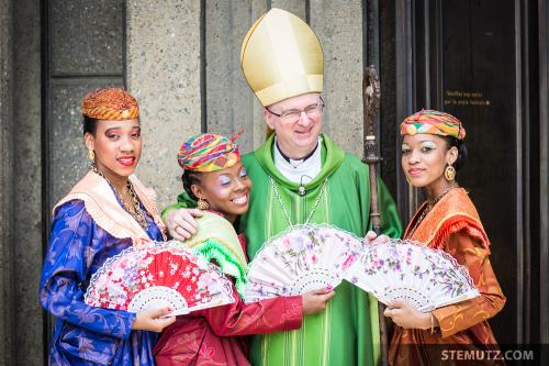 Mgr Charles Morerod et la belle Martinique… RFI 2014 Messe Christ Roi