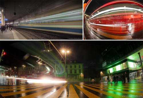 Lights and movement ... Photofri Night Session @ Bern Bahnhof, 07.11.2011
