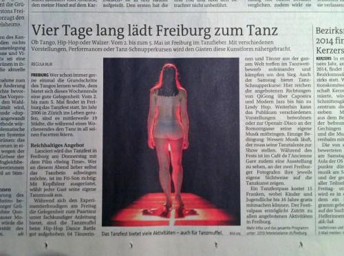 """""""Red Light"""" in Presseartikel, Freiburger Nachrichten (Regula Bur), 01.05.2013"""