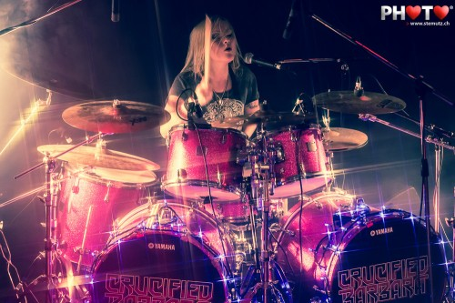 Drummer Nicky Wicked ... Crucified Barbara (Swe) @ Ebullition, Bulle, 13.10.2012