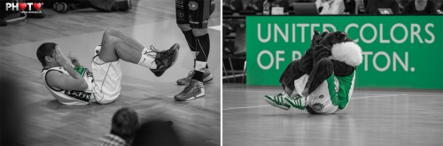 Player and mascot GONY with similar gestures ... @ Basket Fribourg Olympic