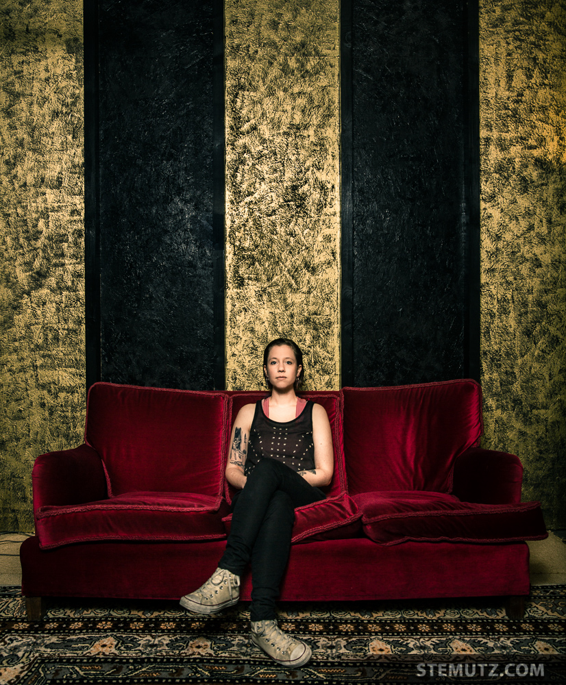 Original Picture: Fancy Red Couch...ANNA AARON Portrait Shoot 2014