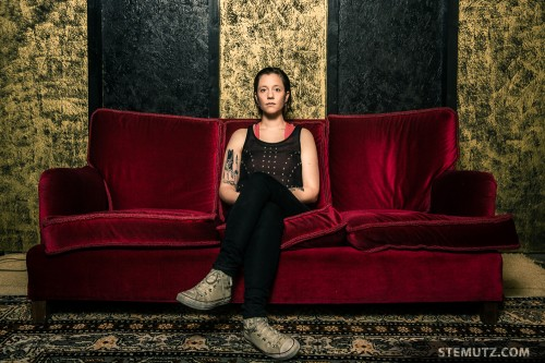 Fancy Red Couch ... ANNA AARON Backstage Portrait Shoot 2014
