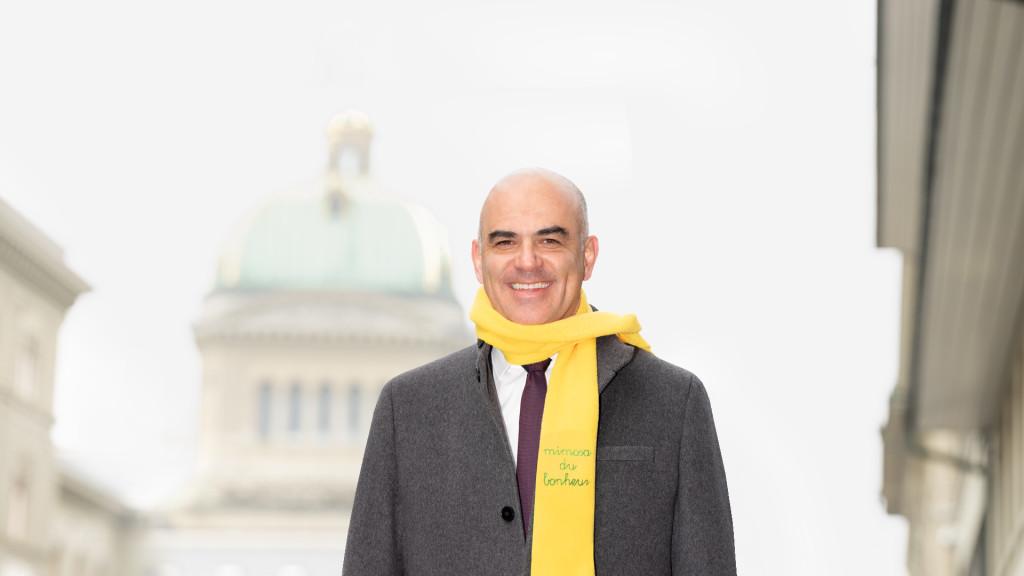 Bundesrat / Conseiller Fédéral Alain Berset - Campagne Mimosa Croix Rouge Fribourgeoise