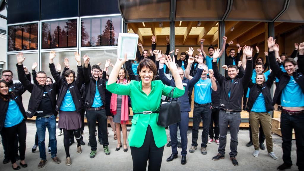 Conseillère fédérale Doris Leuthard en visite au Neighborhub du Smart Living Lab, bluefactory Fribourg