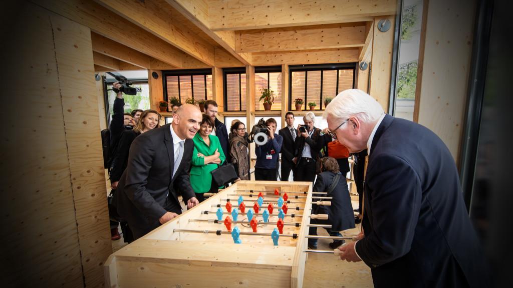 Président Suisse Alain Berset et Präsident Frank-Walther Steinmeier Neighborhub, Smart Living Lab, bluefactory, Fribourg