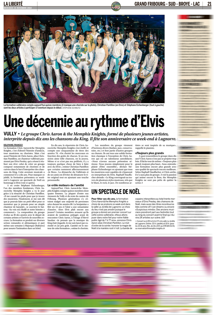 Publication d'image de Chris Aaron & the Memphis Knights,  La Liberté du 26.11.2014