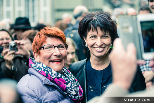 Doris Leuthard and Fans ... Bundesrat / Conseil Fédéral / Federal Council in Fribourg