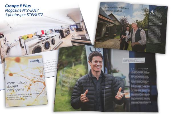 Groupe E Plus Magazine N°2-2017 avec 3 images (portraits et architecture d'intérieur) réalisées par STEMUTZ
