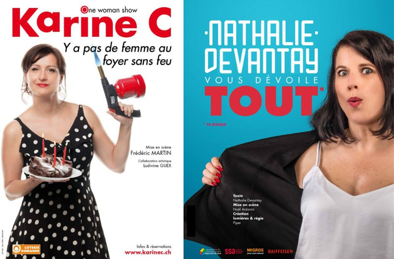 Humoristes Karine C., Nathalie Devantay etc.: Visuels (Affiches, sites web ...)