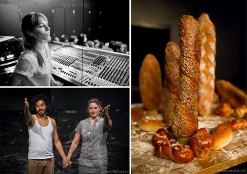 Adina Secretan, Hans (Mathias Glayre) et Grete (Florence Ineichen) et le pain !