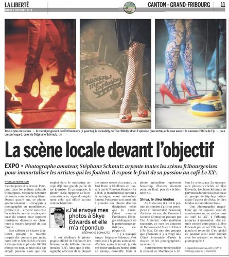 "Article: ""La scène locale devant l'objectif"", La Liberté, Nicolas Maradan"