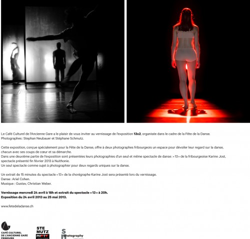 "Flyer: Expo Danse ""13 x 2"" @ Café Culturel de l'Ancienne Gare! Be there! :-)"