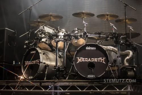 Shawn Drover's big Drumkit ... Megadeth @ Fri-Son, Fribourg, Switzerland, 29.05.2013