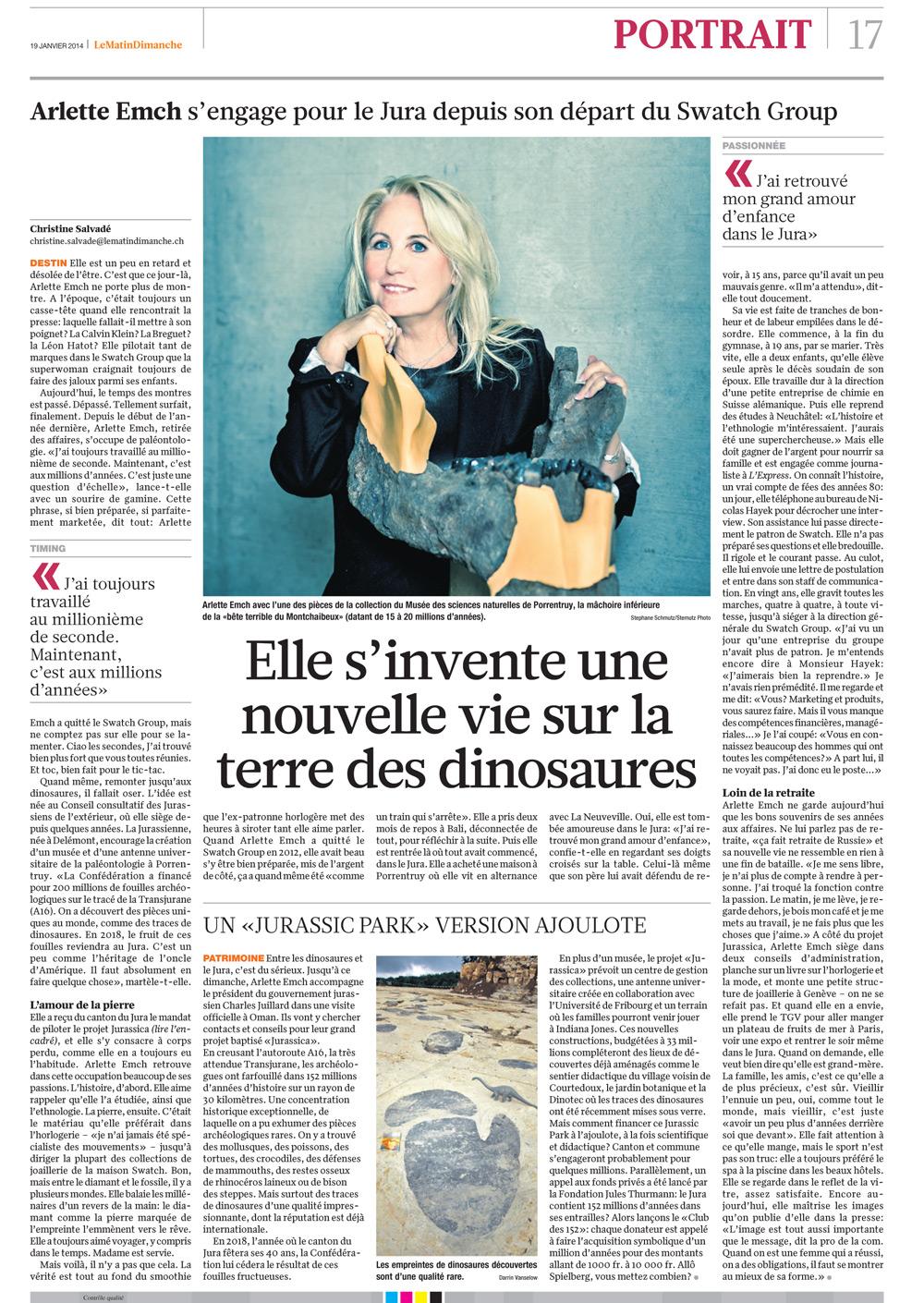 "Publication Arlette-Elsa Emch ""Jurassica"", Le Matin Dimanche, 19.01.2014"
