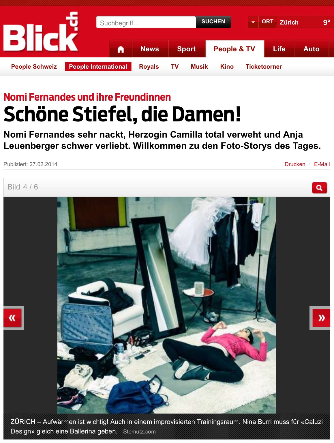 """""""Ballerina""""-Shoot Making-Of Picture published on Blick Online 27.02.2014"""