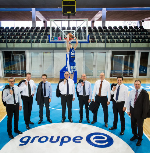 Rapport de Gestion 2014: Groupe E Corporate Shoot @ Salle des Sports, Fribourg Olympic, Fribourg,09.03.2015