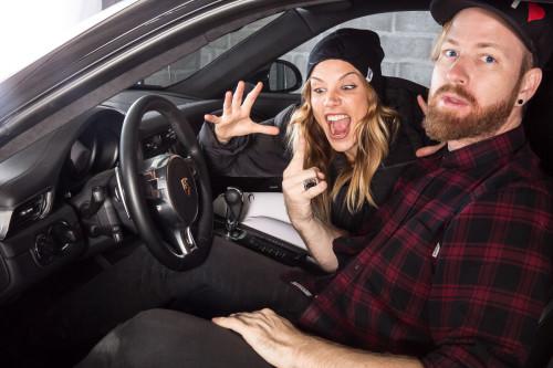 Mirjam Jäger and I goofing around in the Porsche 911.. :-)