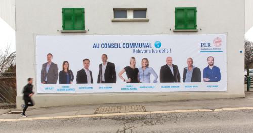 Méga bâche 10x3m, PLR Villars-sur-Glâne Campagne 2016