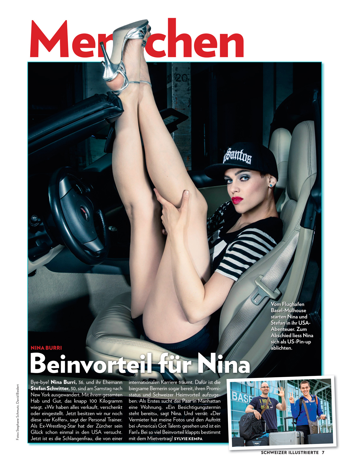 Publication of full page image of Nina Burri in Swiss Magazine SCHWEIZER ILLUSTRIERTE