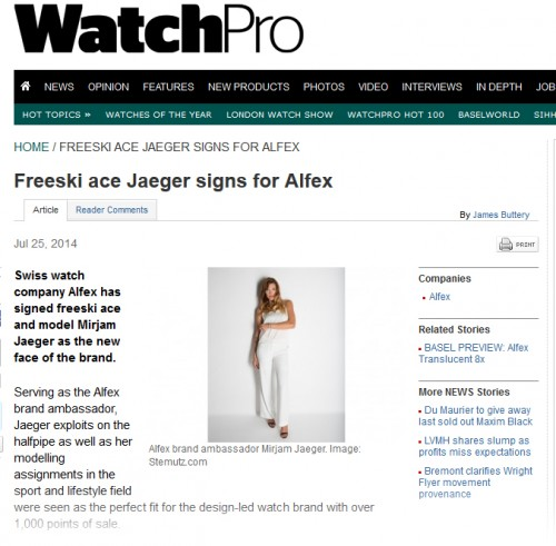 ALFEX Press Picture on Watchpro.com - Article by James Buttery