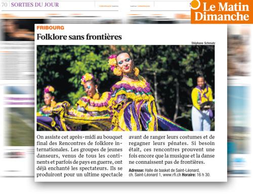 Publication d'image RFI dans Le MATIN Dimanche