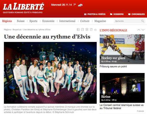 Publication d'image de Chris Aaron & the Memphis Knights,  La Liberté du 26.11.2014