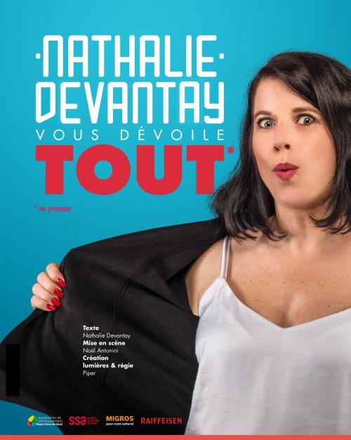 Affiche du nouveau spectacle Nathalie Devantay vous dévoile tout