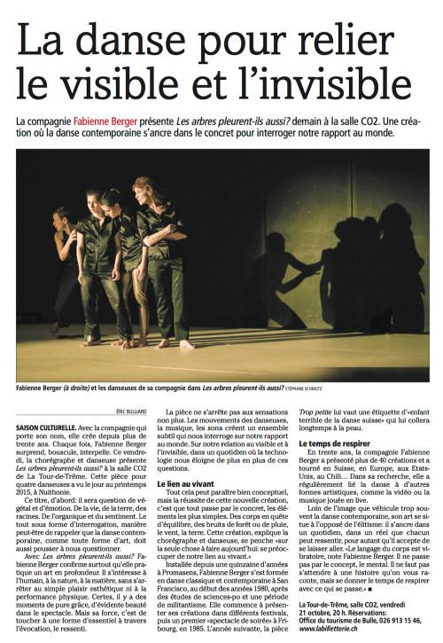 Publication d'image de la Cie Fabienne Berger dans le journal La Gruyère