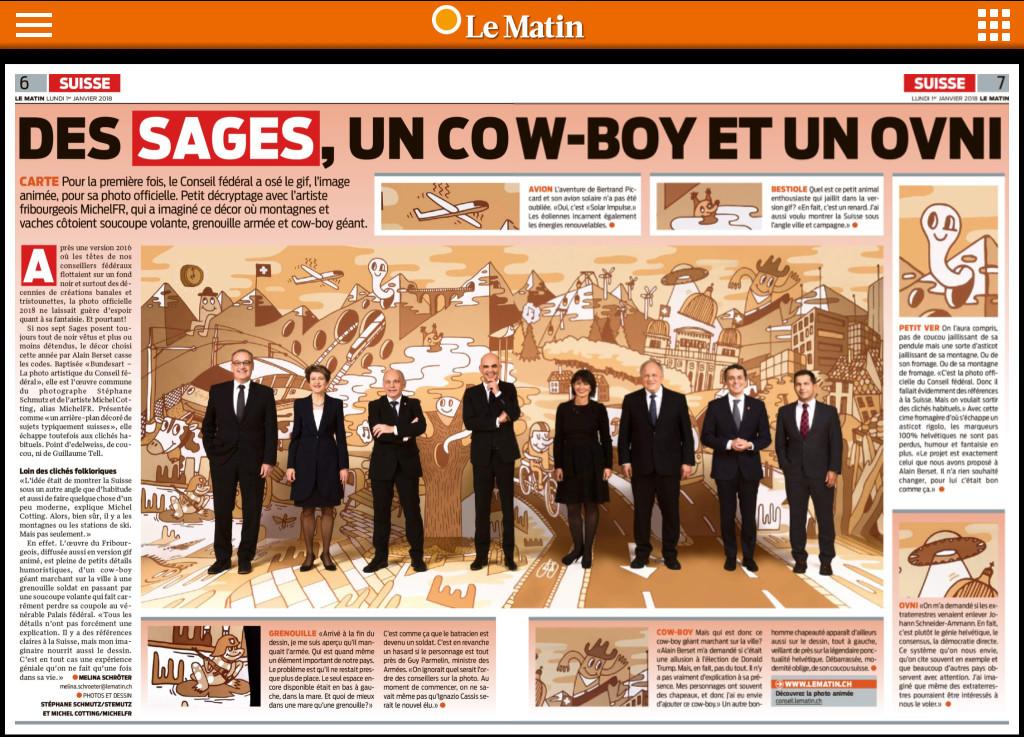 Bundesart, double-page dans Le Matin du 03.01.2018