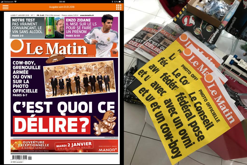 Bundesart, couverture et manchettes, Le Matin du 03.01.2018