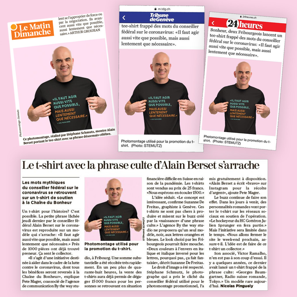 Articles presse 24 Heures / TDG / Le Matin Dimanche- T-Shirt Agir Vite by BTWS Ready to Brand - Photo Alain Berset by STEMUTZ
